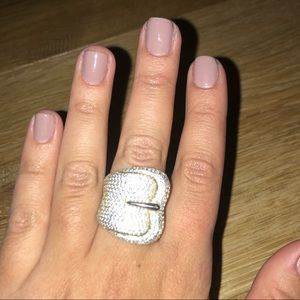 Diamond Buckle Statement Ring